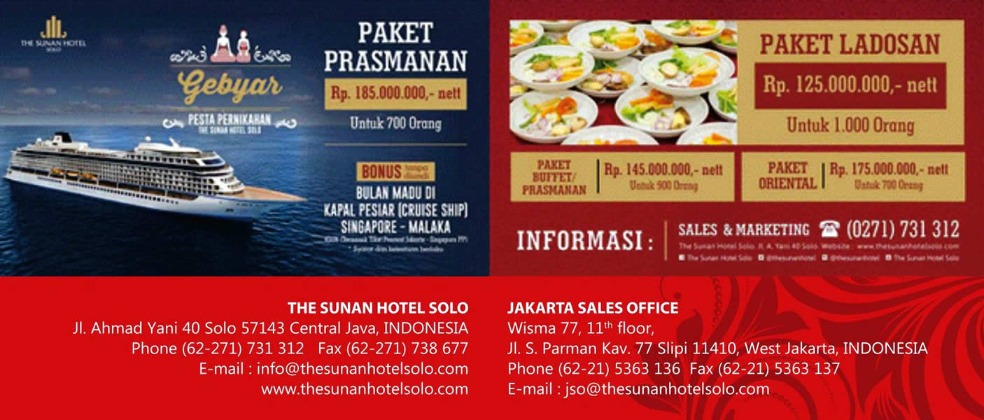 PAKET PERNIKAHAN THE SUNAN HOTEL 2016 March 31